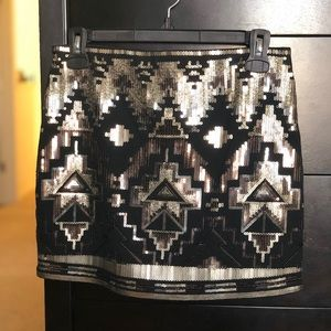 Express Black and Silver Sequin Mini Skirt